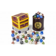 Polyhedral Dice in Brown Dice cup of Plenty