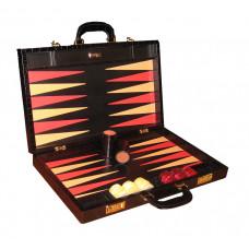 Backgammon Set Elegant XL Genuine Leather in Black