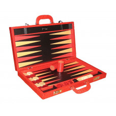 Backgammon Set Elegant XL Genuine Leather in Red