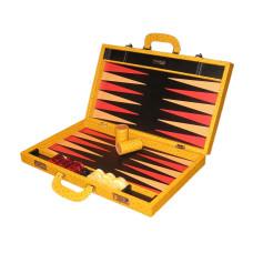 Backgammon Set Elegant XL Genuine Leather in Tan