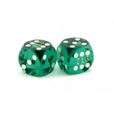 Backgammon Precision Dice Numbered in Green 13 mm