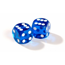 Official Precision Dice for Backgammon 13 mm Blue