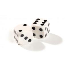 Official Precision Dice for Backgammon 13 mm White