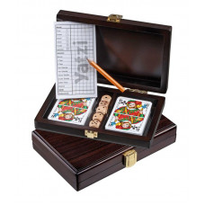 Set of Playing Cards & Yatzy in wooden box