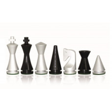 Modern Chess Pieces Glossy Silver KH 75 mm
